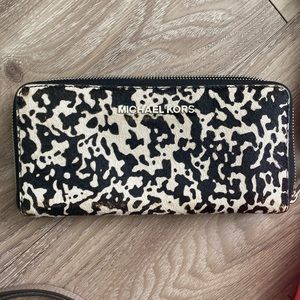 Authentic Michael Kors calf hair large wallet